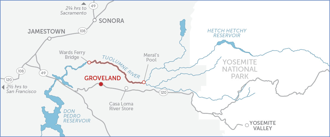 Map of Tuolumne river in detail